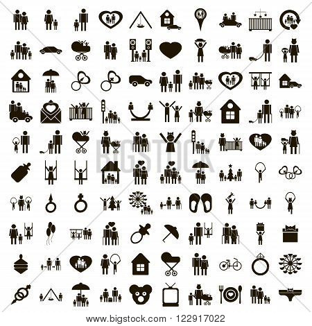 100 family icons set use for any design