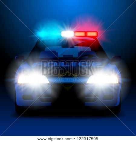 Police car in night with lights in frontal view