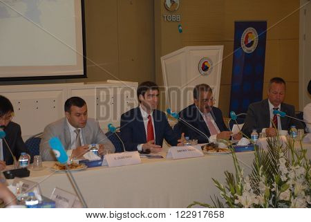 ANKARA/TURKEY-JUNE : Russia Leningrad Region Vice-Governor Dmitry Yalov an the member of the TOBB Board of Directors Faik Yavuz  told about investment climate of the region, measures of state support for investment activity.  June 2, 2015-Ankara/Turkey