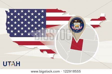 Usa Map With Magnified Utah State. Utah Flag And Map.