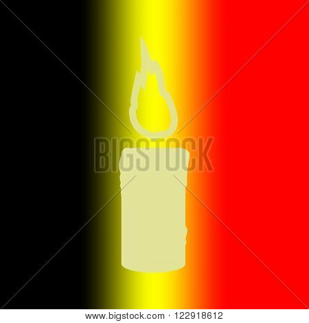 Candle memory on the background of the Belgian flag. Mourning candle. Vector illustration.