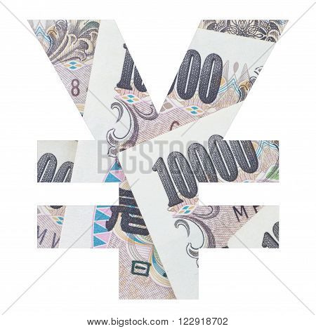 Japanese yen sign with Japanese yen banknote photo isolated on white background