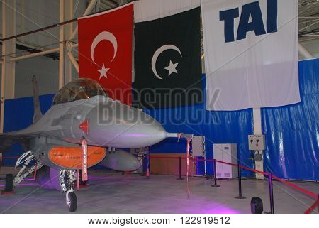 ANKARA/TURKEY-SEPTEMBER 2: F-16 Fighting Falcon aircraft at the TAI's Aircraft Hangar during the