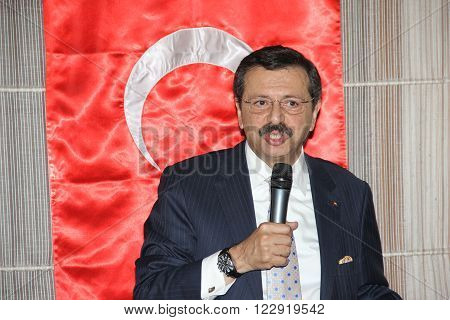 ANKARA/TURKEY-JULY 7: President of The Union of Chambers and Commodity Exchanges of Turkey (TOBB) M.Rifat Hisarciklioglu at the Construction Material Seller's Association meeting. July 7, 2015-Ankara/Turkey