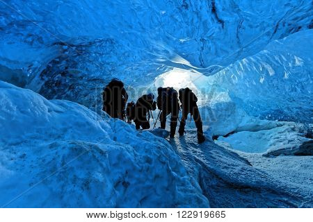 Inside the blue ice of the glacier