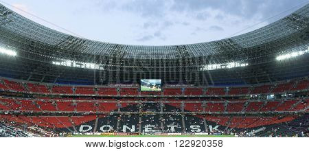 DONETSK UKRAINE - CIRCA JUNE 2012: The Donbass Arena (Donetsk Ukraine) is the first stadium in Eastern Europe designed and built to UEFA elite standards. Arena for semifinals Euro-2012.