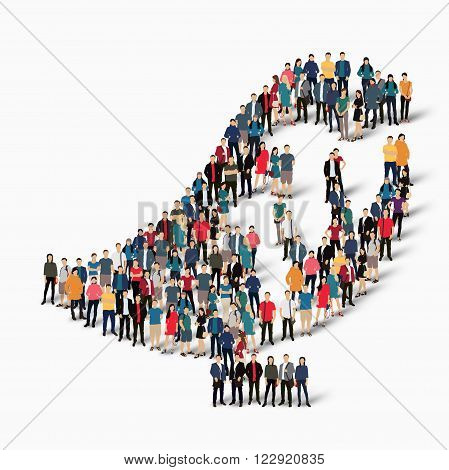 Isometric set of styles abstract  symbol  bird web infographics concept  illustration of a crowded square, flat 3d. Crowd point group forming a predetermined shape. Creative people.