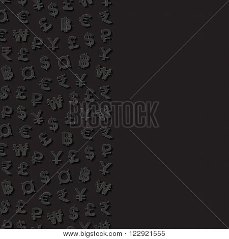 Abstract background with currency symbols. Vector illustration.