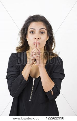 Woman Silence Gesturing. Quiet Remind You To Keep It Down