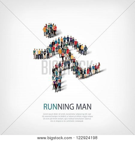 Isometric set of running man, sports, web infographics concept  illustration of a crowded square, flat 3d. Crowd point group forming a predetermined shape. Creative people.