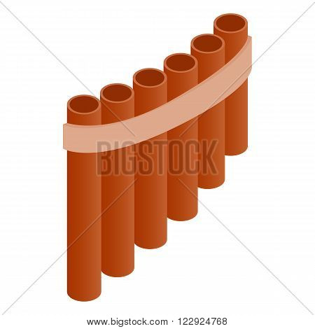 Pan flute icon in isometric 3d style on a white background