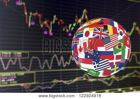 Flags globe over the display of daily stock market chart of financial instruments analysis including Japanese candlestick with buy-sell signal analysis. Global stock market investment concept.