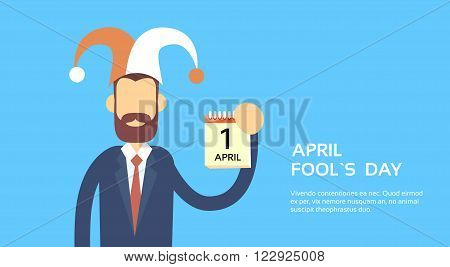 Business Wear Jester Hat Show Calendar Page First April Fool Day Holiday Banner Copy Space Vector Illustration