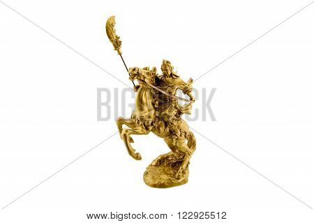 Statuette of the legendary Chinese general Guan Yu riding on a horseback named Red Hare with his Green Dragon Crescent Blade : Chinese famous warrior from Romance of the Three Kingdoms novel