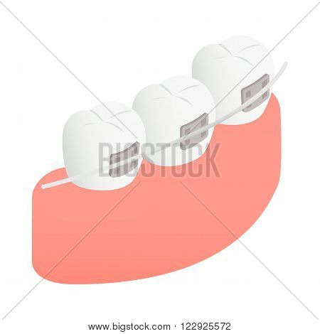 Braces on teeth icon in isometric 3d style on a white background