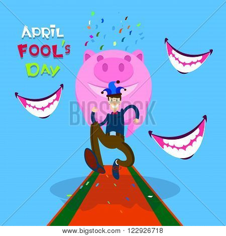 Man Wear Jester Running, Smiling Mouth, Piggy Bank, First April Fool Day Happy Holiday Flat Vector Illustration