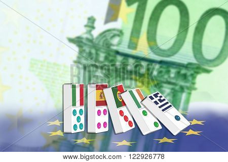 Five dominoes of EU countries that seem to have financial problem stand upright in front of Euro (EUR) 100 notes.