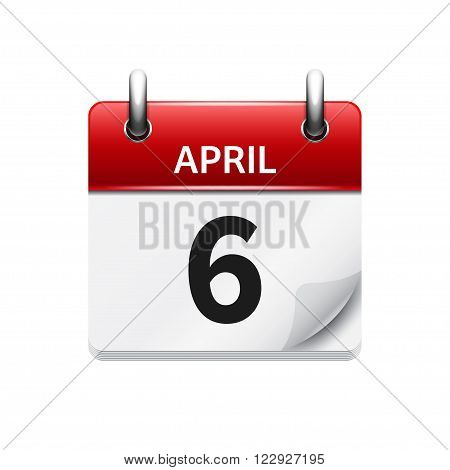 April 6. Vector flat daily calendar icon. Date and time, day, month. Holiday.