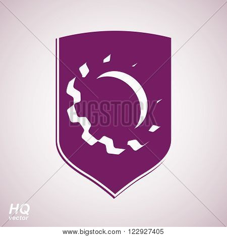 3d graphic gear symbol on shield heraldic escutcheon with an engineering design element. Engine component symbol, industrial cog wheel. Defense emblem.