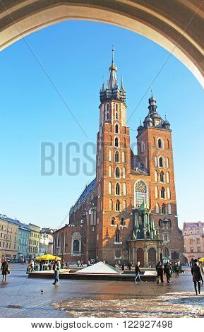 Krakow, Poland - January 04, 2011: Mariacki church on main square of Krakow city, Poland