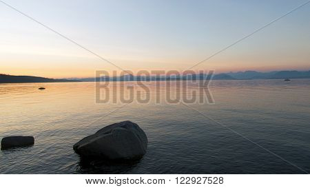 Picture of an ocean sunset seen from Quadra Island,BC,canada.