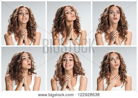 The set of portraites of young woman with softened facial expression  over gray background