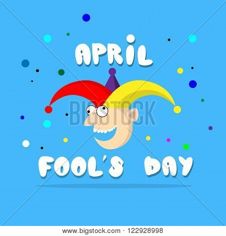 Crazy Clown Face First April Day, Fool Holiday Concept Flat Vector Illustration