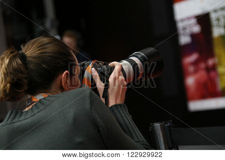 Photographer attends the award winners press conference of the 66th Berlinale International Film Festival on February 20, 2016 in Berlin, Germany.