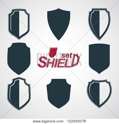 Collection of vector grayscale defense shields protection design graphic elements. Heraldic illustrations on security theme, set of retro coat of arms.
