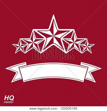 Vector monarch symbol. Festive graphic emblem with five pentagonal stars and curvy ribbon, decorative luxury template. Corporate icon success concept theme design element.
