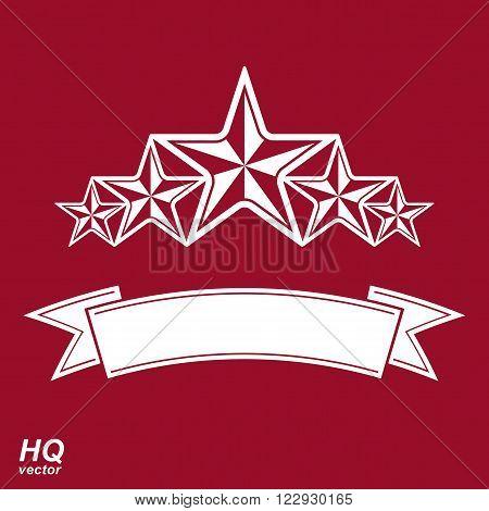 Vector monarch symbol. Festive graphic emblem with five pentagonal stars and curvy ribbon, decorative luxury template. Corporate icon success concept theme design element.