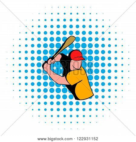 Baseball player icon in comics style isolated on white background. Baseball player in red baseball bat swinging to strike