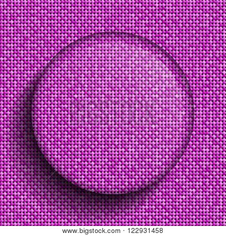 Vector glass circle button on shiny pink paillettes background . Sparkle glitter background. Glittering sequins wall.