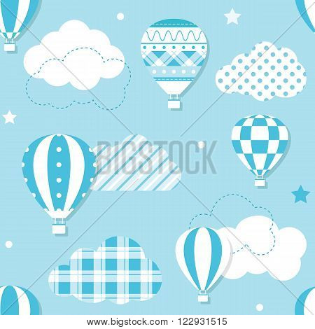 illustration of hot air balloons collection with patterned clouds, stars and dots on blue background