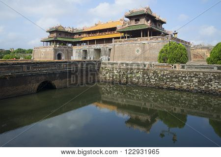 HUE, VIETNAM - JANUARY 08, 2016: The main gate of the Imperial Forbidden Purple city. The historic landmark of the city of Hue, Vietnam