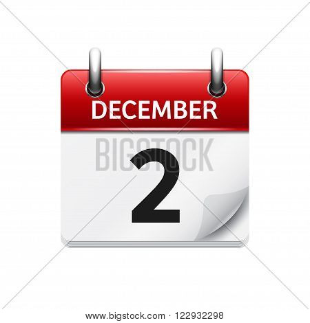 December 2. Vector flat daily calendar icon. Date and time, day, month. Holiday.