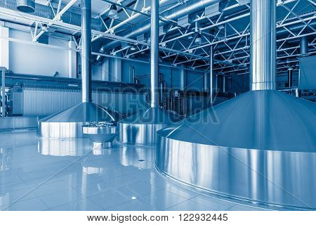 Moscow, Russia - July 27, 2015: Equipment for brewing beer on the plant territory of Moscow brewing company.