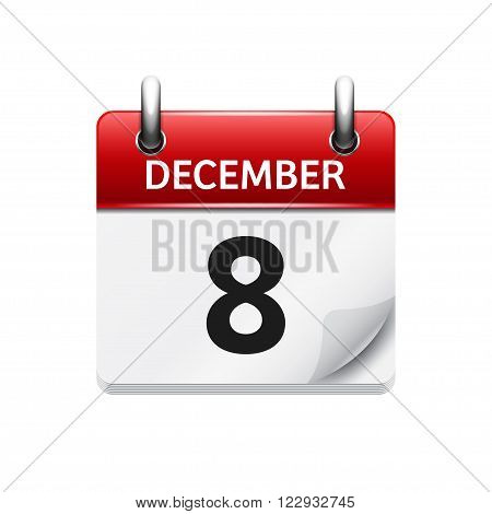 December 8 . Vector flat daily calendar icon. Date and time, day, month. Holiday.