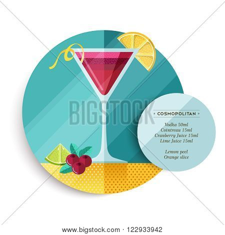 Cosmopolitan cocktail drink recipe illustration in colorful flat art design style with summer fruit decoration and ingredients text. EPS10 vector.