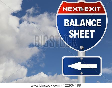 Balance sheet road sign