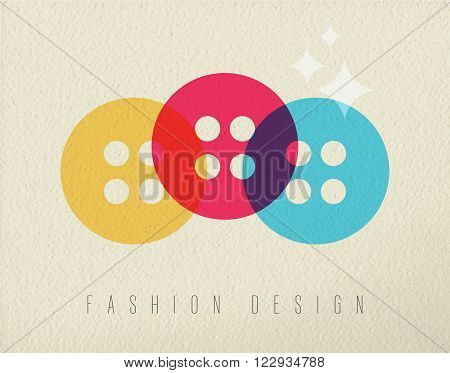 Fashion design concept icon illustration of clothing button in colorful transparent style over texture background. EPS10 vector.