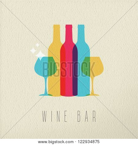 Wine bar concept icon illustration of elegant drink bottle and glass in colorful transparent style over texture background. EPS10 vector.