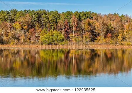 Arkansas fall reflection in Petit Jean state park.