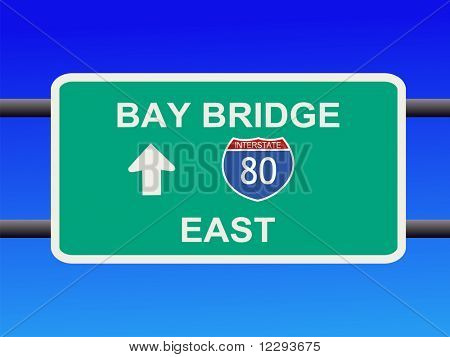 Bay Bridge Interstate 80 sign San francisco illustration JPG