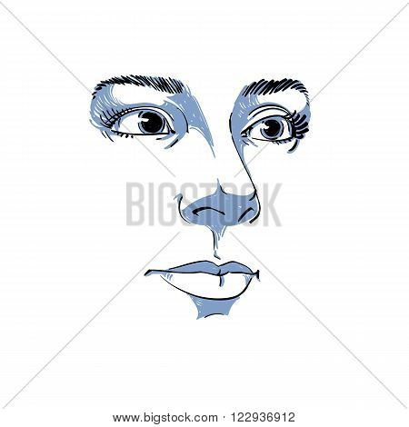 Artistic hand-drawn vector image black and white portrait of delicate stylish girl. Emotions theme illustration. Peaceful and confident personality visage features.