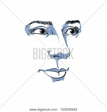 Vector art drawing portrait of gorgeous dreamy girl isolated on white. Facial expressions people positive emotions. Caucasian melancholic woman visage features.