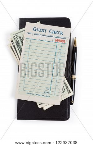 Guest Check and dollar concept of restaurant expense.