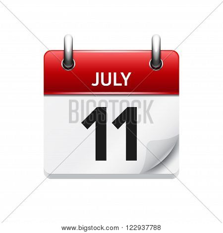 July 11 . Vector calendar icon. Date, day, month. Holiday.