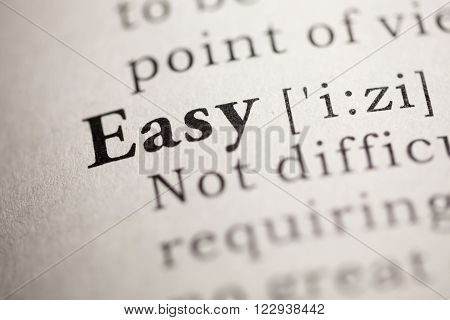 Fake Dictionary Dictionary definition of the word Easy.