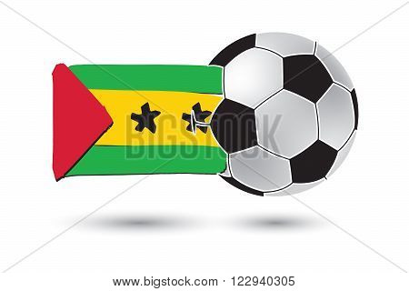 Soccer ball and Sao Tome and Principe Flag with colored hand drawn lines